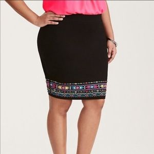 Torrid Embroidered Tribal Mini Skirt